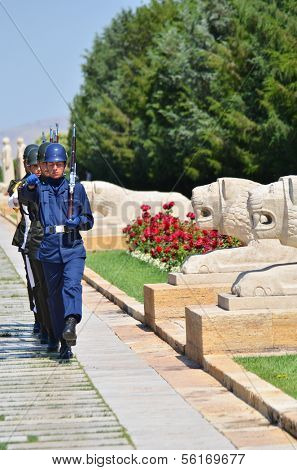 ANKARA, TURKEY-JULY 29: Turkish Soldiers in guard shift duty in mausoleum of Ataturk (Anitkabir) on July,29 2012 in Ankara, Turkey