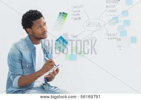Thoughtful male artist writing notes in front of whiteboard at office