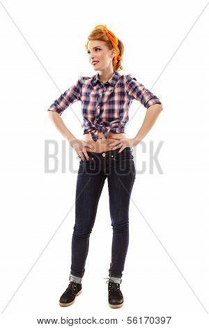 Sexy Housewife Standing Akimbo