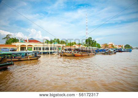 Tourist port is  tp. My Tho in Mekong delta , Vietnam.