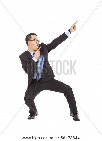 Crazy Businessman Dancing  A Funny Gesture