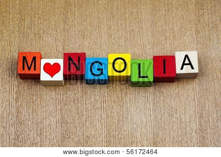 Mongolia, Sign for Countries and Travel
