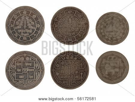 Nepalese rupee coins isolated on white