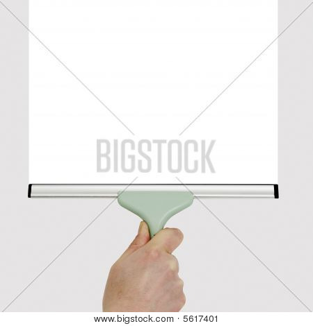 Hand With Squeegee Cleaning