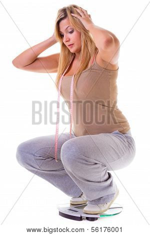 Large Woman On Scale Worried With Her Weight Isolated