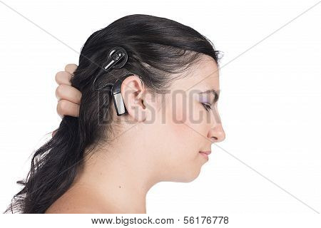 Young Deaf Or Hearing Impaired Woman With Cochlear Implant