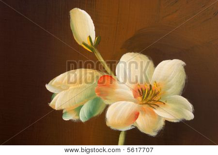 Flower Painting On Wood