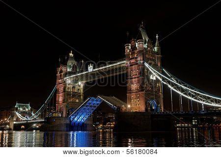 London Tower Bridge At Night, England