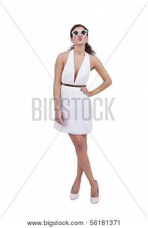 Attractive woman posing against white background