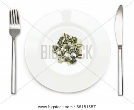 Plate Of Cutting Dollars