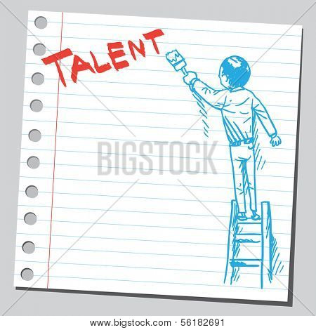 Businessman write word TALENT
