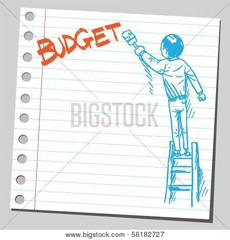 Businessman write word BUDGET
