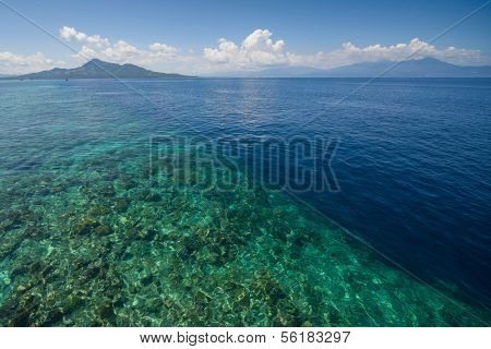 Tropical sea and coral reef drop off. Indonesia