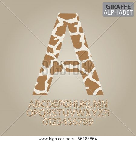 Giraffe Skin Alphabet And Numbers Vector