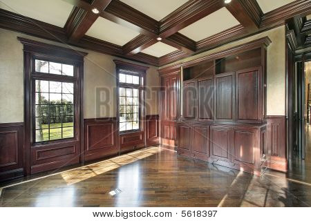 Library With Cherry Wood Paneled Walls