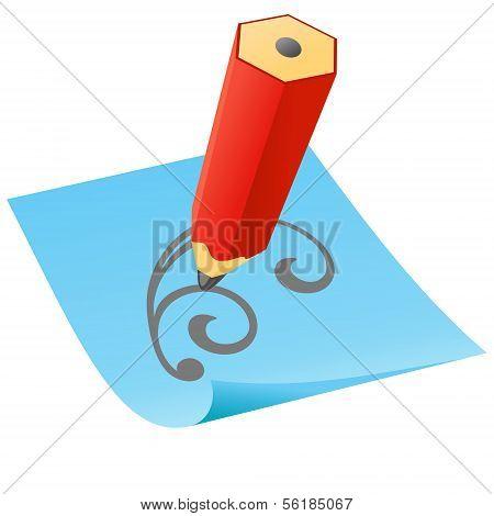 Bleistift mit Papier-Seite.