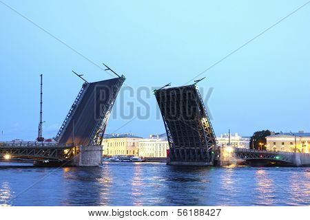 Drawbridge In St. Petersburg At White Night In The Light Of Lanterns