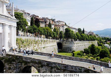 ERGAMO, LOMBARDY, ITALY - MAY 29: Scenery and the town wall of the Bergamo Citta Alta, May 29, 2011 in Bergamo, Lombardy, Italy