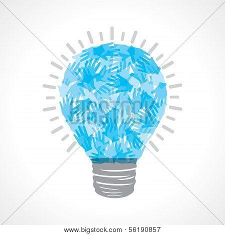 Creative light-bulb of blue helping hand