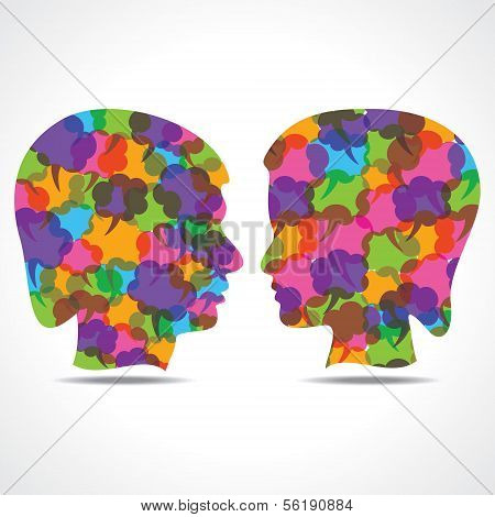 Creative male and female face of colorful message bubble
