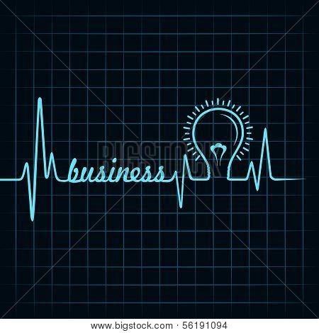 heartbeat make business  word and light-bulb