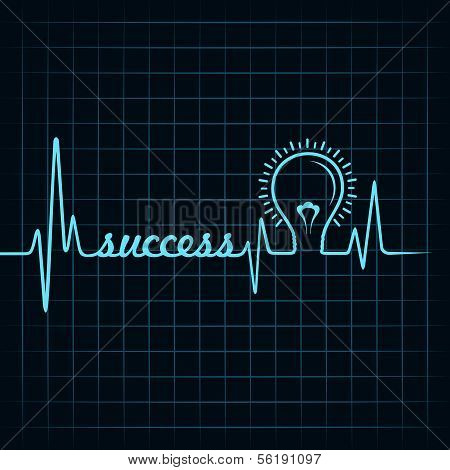 heartbeat make success word and light-bulb