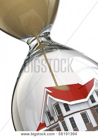Real estate concept. Hourglass and home. 3d