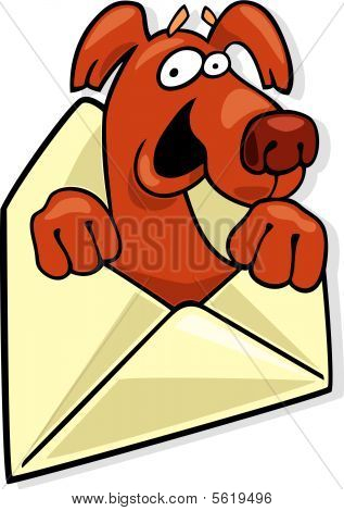 dog in letter envelope