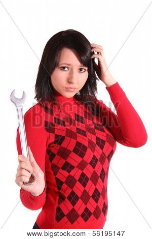 A young handsome woman got a technical problem. All isolated on white background.