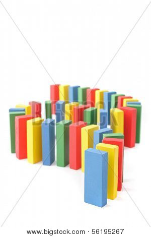 A domino game outof colorful blocks. All isolated on white background.