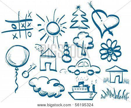 Hand Zeichnung Symbole Satz