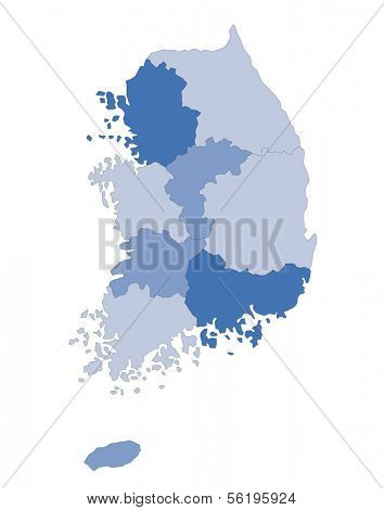 A map of South Korea showing the different provinces in blue tone