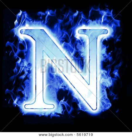 Icy Blue Hot Burning Letter with High detailed Flames