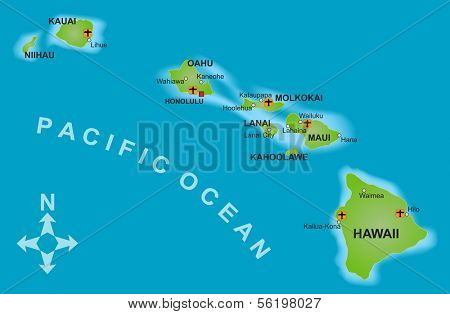 Stylized map of the island of Hawaii and all adjacent islands.