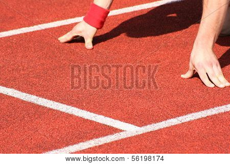 Typical scene on a sport field of track and field athletics