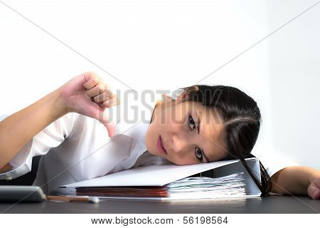 Depressed Businesswoman Giving A Thumbs Down