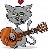 stock photo of serenade  - Valentines Day Cartoon Illustration of Funny Cat in Love Playing the Guitar and Singing - JPG