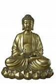 stock photo of cult  - Golden Buddha sits in the lotus posture - JPG