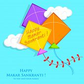 pic of kites  - illustration of Makar Sankranti wallpaper with colorful kite - JPG