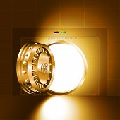 picture of bank vault  - Light through an open door of the bank safe  - JPG