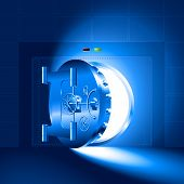 stock photo of bank vault  - Light through a half - JPG