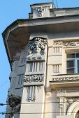 stock photo of building relief  - Building with bas relief girls in the city center - JPG
