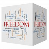 stock photo of freedom speech  - Freedom 3D Cube Word Cloud Concept with great terms such as free life hope peaceful and more - JPG