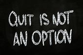 pic of quit  - Quit is Not an Option Motivational Phrase written with Chalk on Blackboard - JPG