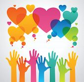 stock photo of communication people  - silhouettes of human hands are drawn to the icons of hearts - JPG