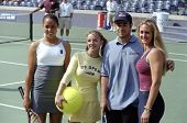 FLUSHING - AUGUST 28: Britney Spears (C) smiles with Carson Daly and tennis players Alexandra Steven