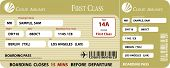 stock photo of first class  - Golden Boarding Pass First Class Vector EPS - JPG