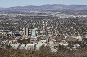 LOS ANGELES, CALIFORNIA - NOVEMBER 24, 2013:  Mountaintop view of the media district in Burbank Cali