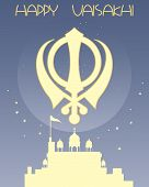 image of granth  - an illustration of a sikh greeting card with symbol gurdwara and stars on a blue background with space for text - JPG