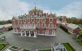 MOSCOW - OCT 10: View from unmanned quadrocopter on beautiful facade of Petroff Palace on October 10